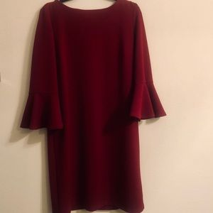 Sz 12 Liz Claiborne Red Bell Sleeve Sheath Dress